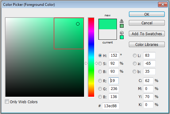 Photoshop colour picker