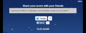 tweet score from html5 game