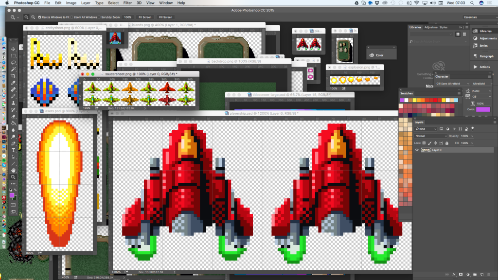 Photoshop, sprite creation and some crude level design management